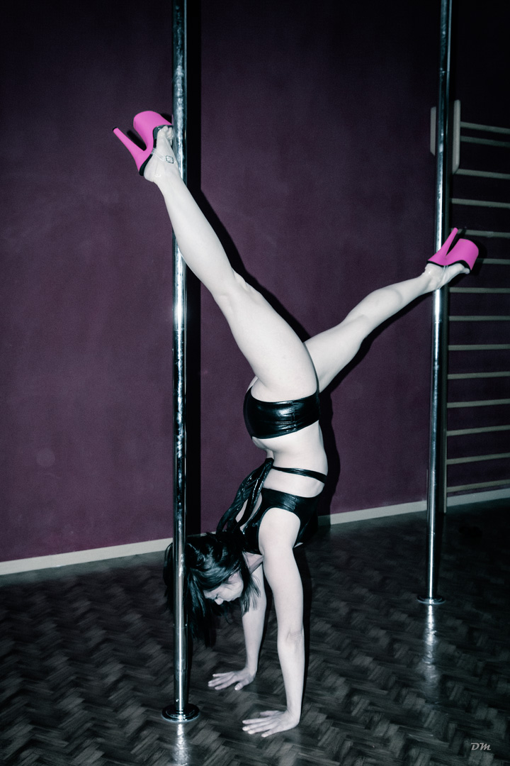 Silversnake Michelle sexy pole dance upside down